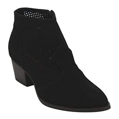 AD69 Women's Perforated Side Zipper Block Heel Ankle Booties