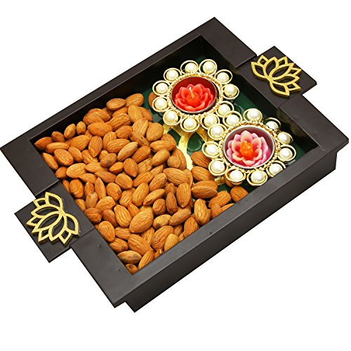 Ghasitaram Gifts Diwali Gifts Diwali Hamper- Green Wooden Serving Tray with Almonds and 2 T-Lites, 150gms