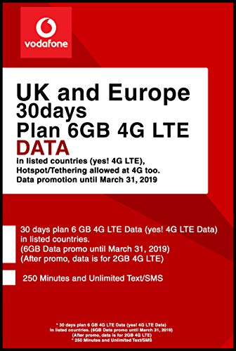 Vodafone UK and Europe Prepaid SIM Card with 30 Days Plan 6GB 4G LTE Data. (BE AWARE THAT IF YOU ACTIVATE AND LAND IN EUROPE AFTER MARCH 31ST, YOU WILL ONLY GET 2GB DATA)