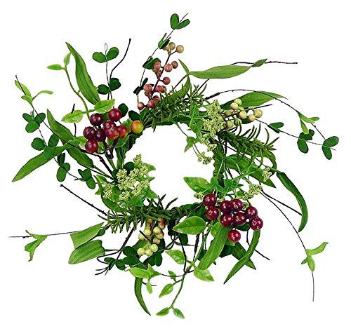 Christmas 12'' Candle Ring/ Mini-Wreath with Vines, Leaves, and Berries by None