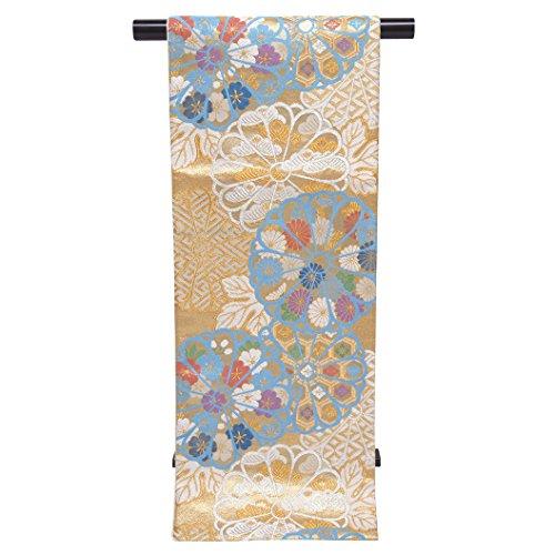 脚本家コントラスト雑種袋帯 正絹 仕立て上がり 振袖に 西陣織の袋帯 六通「白金 菊」NFO683