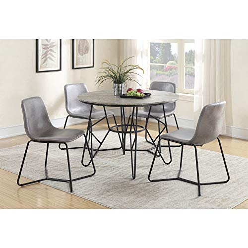 Jurcek 42'' Round Dining Table in Gray Brindle with Round Tabletop And Metal Base, by Artum Hill by Artum Hill (Image #2)
