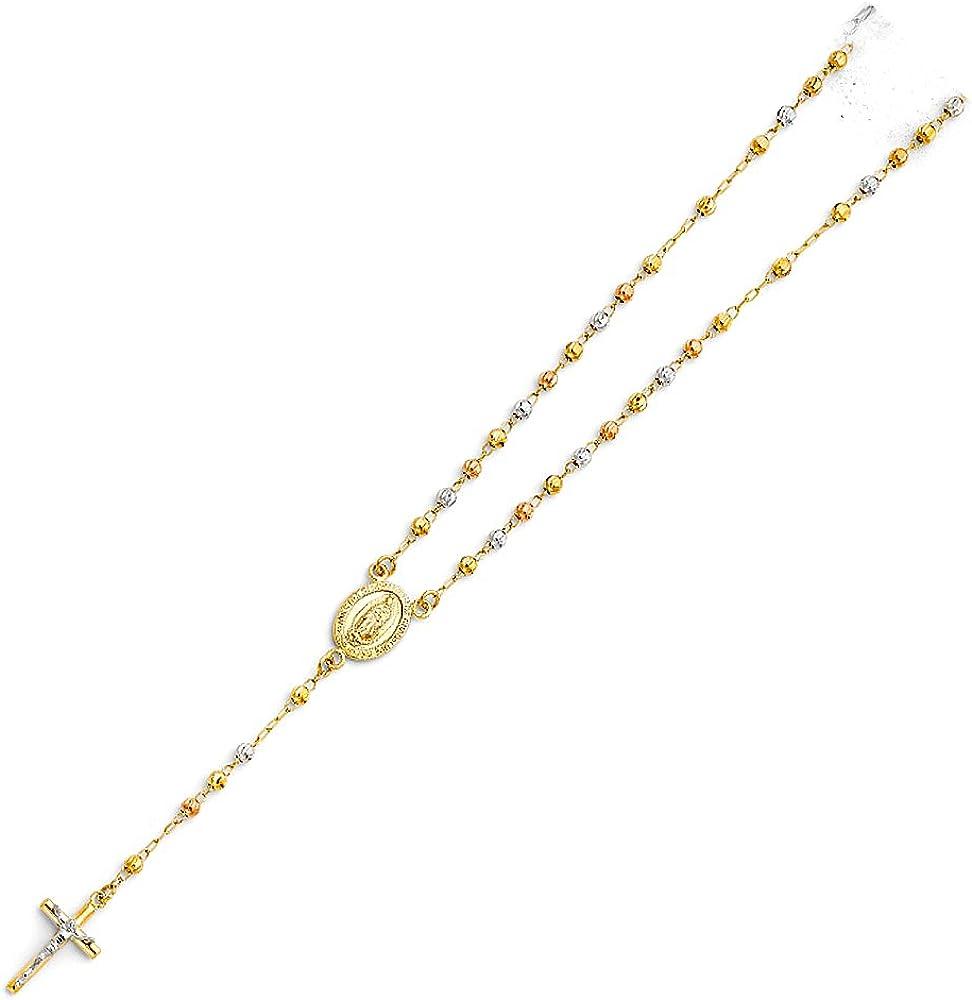Jewels By Lux 14Kローズホワイトとイエロー 3色ゴールド3mm ムーンカットビーズ グアダルーペの聖母マリア ロザリオチェーンネックレス 18インチ