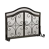Small Crest Fireplace Screen With Doors, in Black