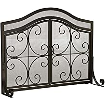 Small Crest Fireplace Screen with Doors, Solid Wrought Iron Frame with Metal Mesh, Decorative Scroll Design, Free Standing Spark Guard 38 W x 31 H x 13 D, Black Finish