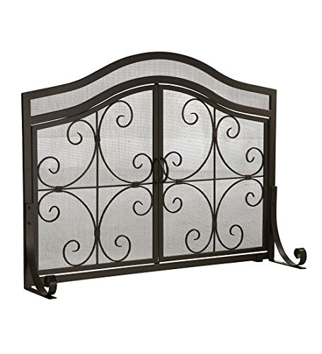 - Plow & Hearth Small Crest Fireplace Screen with Doors, Solid Wrought Iron Frame with Metal Mesh, Decorative Scroll Design, Free Standing Spark Guard 38 W x 31 H x 13 D, Black Finish
