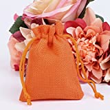 cici store 50Pcs Vintage Natural Jute Drawstring Pouch - Burlap Bags - Wedding Favor Gift Bag (orange)
