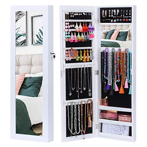 KING BIRD Jewelry Organizer Lockable Jewelry Armoire Storage Holder Box Door Wall Mounted Jewelry Cabinet with Full Length Floor Mirror Outside and Inside