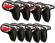 SM SunniMix 9 Pieces Universal PU Golf Iron Headcover, Shark Club Head Covers, Golf Club Protector 17.5x9cm fo