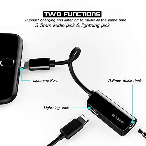 iphone 7 adapter 2 in 1 steanum lightning to aux. Black Bedroom Furniture Sets. Home Design Ideas