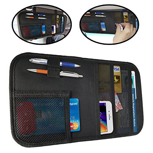 lebogner Car Sun Visor Organizer By Auto Interior Accessories Pocket Organizer, Registration And Document Holder, Personal Belonging Storage Pouch Organizer, Interior Accessories Pocket Organizer