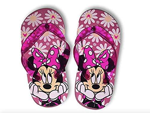 Minnie Mouse Flip Flops Summer Sandals Big Girl Sizes 11/12, 13/1 & 2/3 (13/1, Pink Minnie Flowers)
