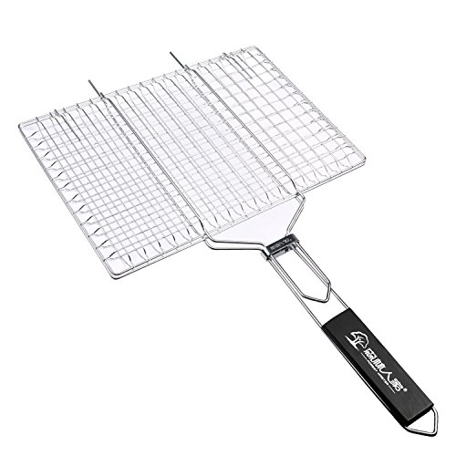 Grilling Portable BBQ Barbecue Stainless Steel Grill Grid Grate Basket Roast Folder Tool with Wooden Handle - Bbq Guys Stainless Steel