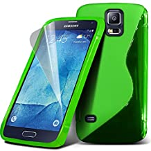 ONX3® ( Green ) Samsung Galaxy S5 Neo Case Custom Made S Line Wave Gel Case Skin Cover With LCD Screen Protector Guard, Polishing Cloth & Mini Retractable Stylus Pen