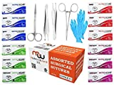 Sterile Suture Threads with Needle (Mixed 12PK: 0, 2/0, 3/0) + 5 Accessories for Medical, Nursing, Dental & EMT's Surgical Practice Kit; First Aid Emergency Training, Stitching Demo Set, Taxidermy