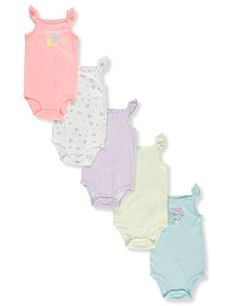 bdf4be574d Carter's Baby Girls' 5 Pack Flutter Sleeve Rainbow Bodysuits