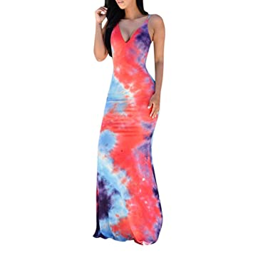 SMILEQ Casual Cami Dress Women Summer Sleeveless Backless Long Loose Sundress Evening Party Ball Gown Beach