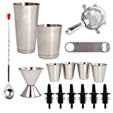 16 Pcs Cocktail Shaker Home Bar Set – Complete Bartender Kit with Double Bar Jigger, Pour Spouts, Drink Shaker, Hawthorne Strainer, Bar Spoon, Bottle Opener and Tin Shot Glasses