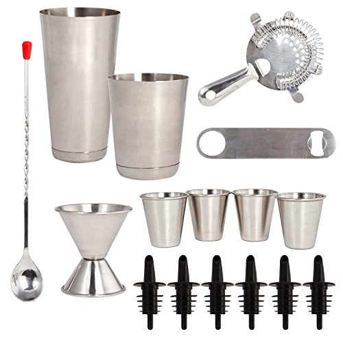 16 Pcs Cocktail Shaker Home Bar Set – Complete Bartender Kit with Double Bar Jigger, Pour Spouts, Drink Shaker, Hawthorne Strainer, Bar Spoon, Bottle Opener and Tin Shot Glasses by Lexi Home