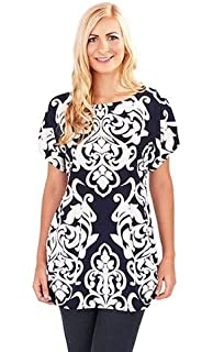 fac679b9bf Un-Poco Navy & Ivory White Baroque Print Short Sleeve Loose Fit Tunic Top  Blouse