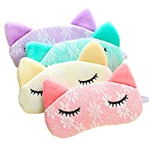 Deercon Pack of 4 Cute Sleeping Eye Mask Snoring Blindfold Sleeping Shade Soft Cover Blinder