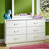 Contemporary Bedroom Furniture 6 Drawer Double Dresser - This Logik Contemporary Bedroom Furniture Is a Perfect Storage Solution - Great Addition in Your Child's Bedroom - Comes with Spacious Media Compartment - 5 Years Warranty!