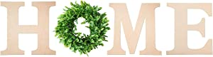 "12"" Self-Adhesive Wooden Home Letters with Boxwood Wreath for Home Wall Decoration,Home Letters for Wall with Wreath and Hanger. (Home Sign with Wreath)"