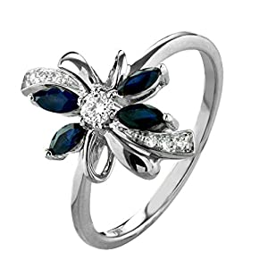 0.54 Ct. Floral Shape 14K White Gold Natural White Diamond & Blue Sapphire Engagement Ring For Women