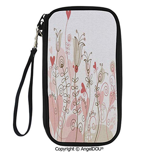 (PUTIEN Polyester Durable Hand holding bag Wedding Themed Floral Illustration with Cute Little Hearts Blooming Abstract Art for shopping men women.)