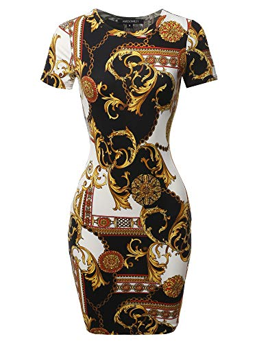 Casucal Printed Sexy Body-con Mini Dress - Made in USA Black White S