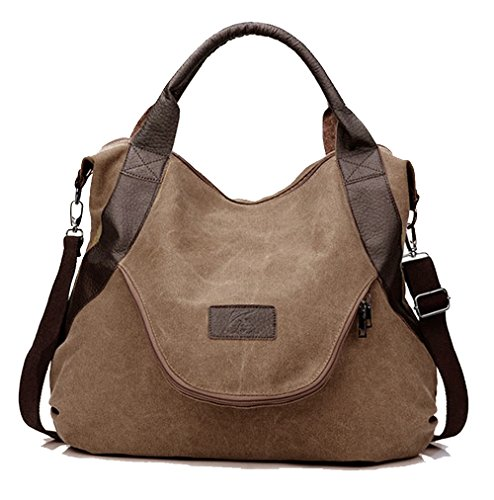 xiaoxiongmao Large Pocket Casual Women's Shoulder Cross Body Handbags Canvas Leather Bags Coffee by Taoqiao