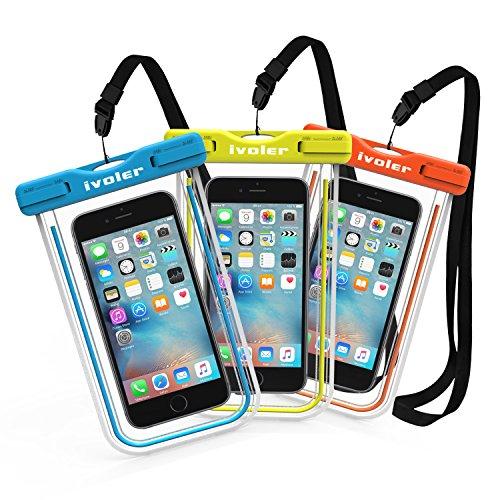 [IPX8 Zertifiziert] iVoler Wasserdichte Hülle,[3 Stücke] Wasser- und staubdichte,Stoßfeste, Schneeschutzanlage Transparente Wasserfeste Handyhülle Beachbag Tasche für iPhone 7, 7 Plus,6s / 6, 6s Plus / 6 Plus, SE 5S 5C, Samsung Galaxy S8/S8+/S7/Edge/S6/Edge/Edge+, Note 5/4/3/Edge, Huawei P10/P10 Lite/P9/P9 Lite/P8 Lite, LG,Motorola and Smartphones bis 15,24 cm (6 Zoll), und Geld, Reisepass, Datenträger und , Ideal für den Strand, Wassersport, fürs Radfahren, Angeln, usw. (Blau+Grüne+Orange)
