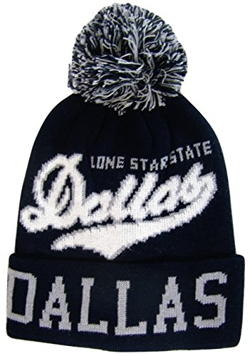 Team, City, & State Name Blending Color Cuffed Winter Knit Hat Cap Beanie (Dallas Navy Blue/Gray/White)