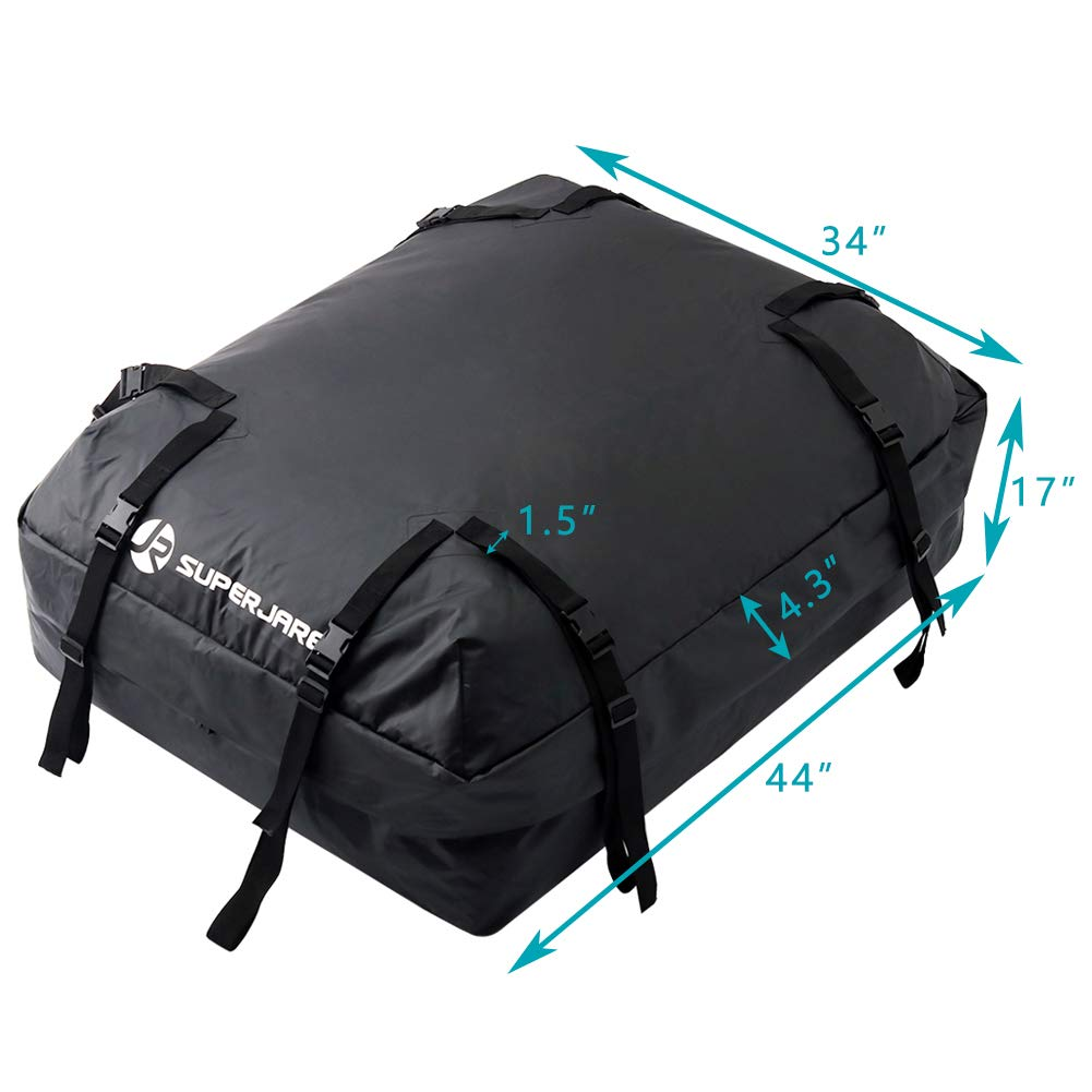 Car Top Carrier for Roof Racks Black 15 Cubic Feet Extra Storage Bag SUPERJARE Cargo Bag with Protective Mat Waterproof Luggage Travel Storage