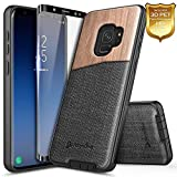 Galaxy S9 Case, NageBee Premium [Natural Wood] Canvas Fabrics Heavy Duty Shockproof Hybrid Defender Rugged Durable Case w/[Full Coverage Soft Screen Protector] for Samsung Galaxy S9 -Wood