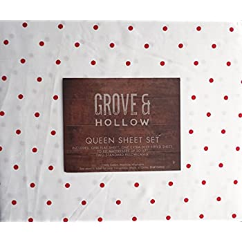 this item grove u0026 hollow bedding 4 piece cotton queen extra deep pocket sheet set old fashioned retro geometric pattern small red polka dots on white