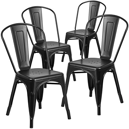 Flash Furniture 4 Pk. Matte Black Metal Indoor-Outdoor Stackable Chair