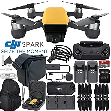 DJI Spark Quadcopter / Mini Drone FLY MORE COMBO & Outdoor Adventure Kit (Sunrise Yellow)