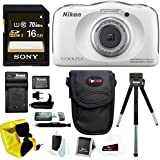 Nikon COOLPIX S33 Waterproof Camera (White) w/ and 16GB SD Card & Battery Pack Bundle