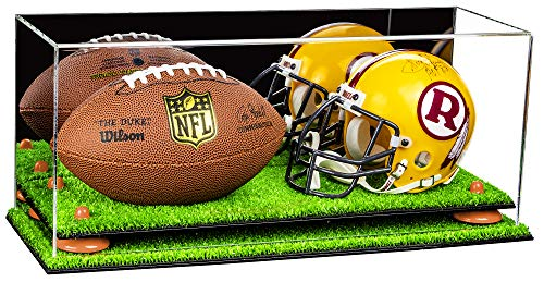 Deluxe Acrylic Mini - Miniature (not Full Size) Football and Helmet Display Case with Mirror, Orange Risers and Turf Base -