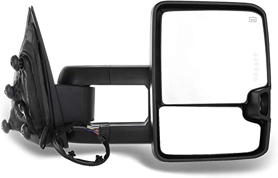 Towing Mirrors Fit for 2014 2015 2016 2017 Chevy Silverado GMC Sierra 1500 2500 HD 3500 HD Manual Telescopin Black Rear View Mirrors with Power Heated LED Turn Signals Side Mirrors