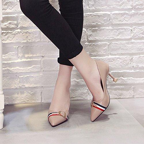HRCxue Das Licht der einzigen Schuhe Frauen Schuhe hohe Spitzen Lady Stöckelschuhen fein mit Ehe Schuhe mit Lady Spitzen Schuhe 35 d4cbca