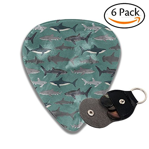 (Janeither Celluloid Guitar Picks Watercolor Painting Shark Artwork Cool Stylish Guitar Accessories 6 Pack For Acoustic, Electric, Original And Bass)