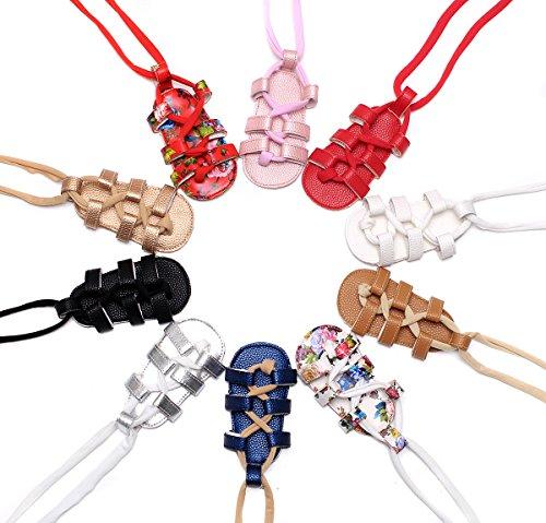 HONGTEYA Girls Summer Baby Gladiator Sandals- Soft Soled Infant Toddlers Crib Shoes Baby Sandals