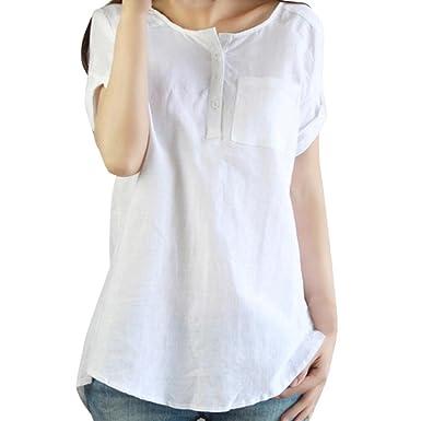 f4535334 Kangma Women Summer Casual Short Sleeve Loose Button-Down Shirt Cotton Linen  Tops Blouse White