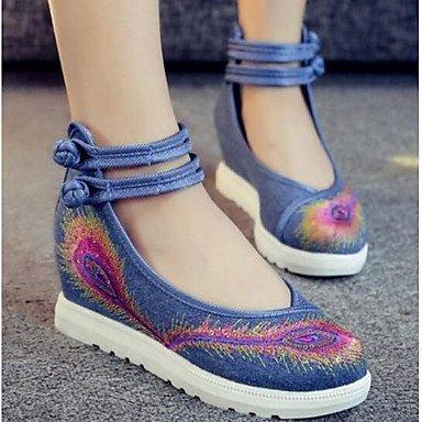 RTRY Las Mujeres'S Wedding Shoes Confort Confort Informal De Primavera De Tela Azul Negro Rubí 2A-2 3/4 Pulg. US6.5-7 / EU37 / UK4.5-5 / CN37