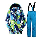Tortor 1Bacha Kid Boy Girl Windproof Waterproof Camo Hooded Ski Jacket Snow Pant Set