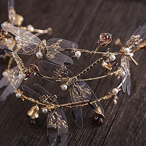 Baroque Three Canopy Dragonfly Bridal Hair Accessories Bridal Crown Tiara Diadem Woman Beauty Crown Crown Tiara