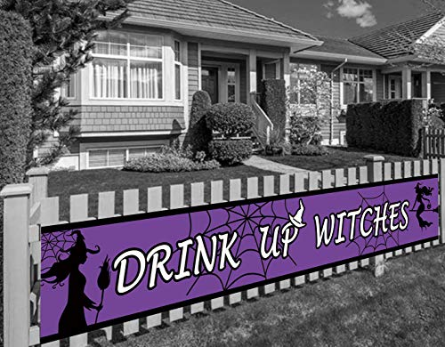 Large Drink Up Witches Banner, Halloween Party Supplies Haunted House Decoration (9.8 x 1.5 feet)