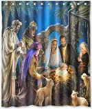 Aloundi HOT designChristmas Nativity Holy Family, TreeThree Wisemen Christmas Generic Shower Curtain Liners